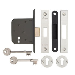 """Picture of 3 Lever Nickel Plated Deadlock 63mm (2.5"""") (Pre-Packed)"""