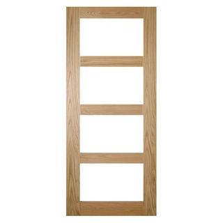White Oak Lacquered 4 Panel Shaker Glazed Door 40mm